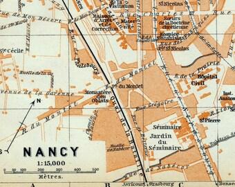 Antique Map of Nancy, France - 1905 Vintage City Map - Old City Map