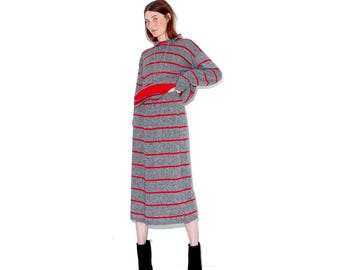 adorable vintage 80s striped sweater dress set / super soft knit sweater skirt set matching set 2 piece two piece co ord