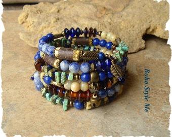 Boho Layered Bracelet, Nature Inspired, Rustic Earthy, Blueberry Picking Statement Jewelry, BohoStyleMe, Kaye Kraus
