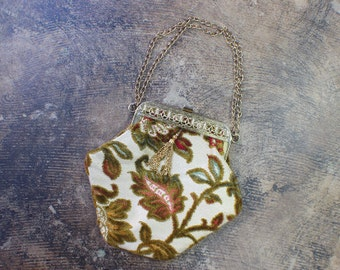 Vintage Brocade PURSE / Tapestry Chain Victorian Style Handbag / Vintage Botanical Metal Bag