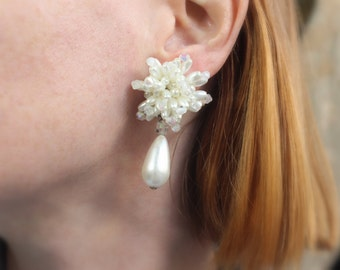 Sparkling Pearl Drop Earrings / Vintage Costume Jewelry / Large White Irredescent Earrings