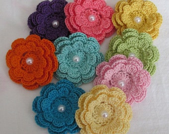 Crochet Flower Appliques, Three-Layer Flowers with Beads, set of 9