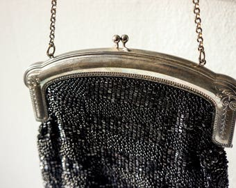 Art Nouveau handbag, black beads, vintage
