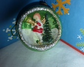 Sweet Vintage Christmas Green Glass Diorama Ornament w Angel