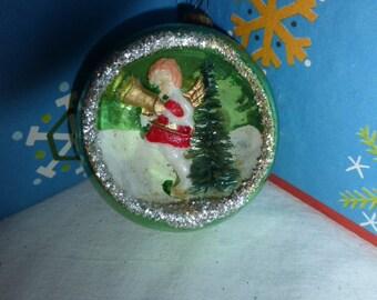 Sweet Vintage Christmas Green Glass Diorama Ornament w Angel