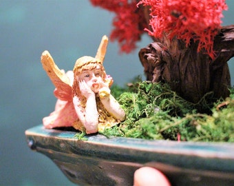 Bonsai tree with preserved Red Reindeer Moss-No water Ever Needed-Fairy included