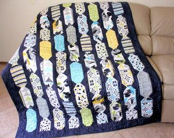Modern Lap Quilt, Modern Sofa Throw - Blue, Green, Yellow Dorm Quilt, Graduation Gift Quilt,