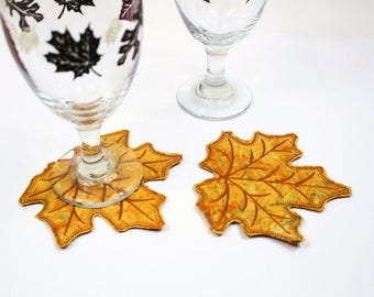 Two Autumn Leaves BATIK Coasters, Quilted Fall Coasters, Golden Thanksgiving Decor, Fall Wedding Table, Gold Machine Embroidered Leaf