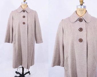 WINTER SALE / 1940s coat vintage 40s tan 3 button round pocket wool tent coat