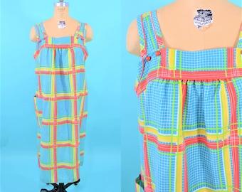 1980s stripe dress | blue red yellow striped house dress | vintage 80s dress | L