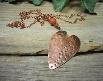 copper heart pendant with goldstone beads, copper heart with long chain, valentine necklace,hand stamped, nickel free,