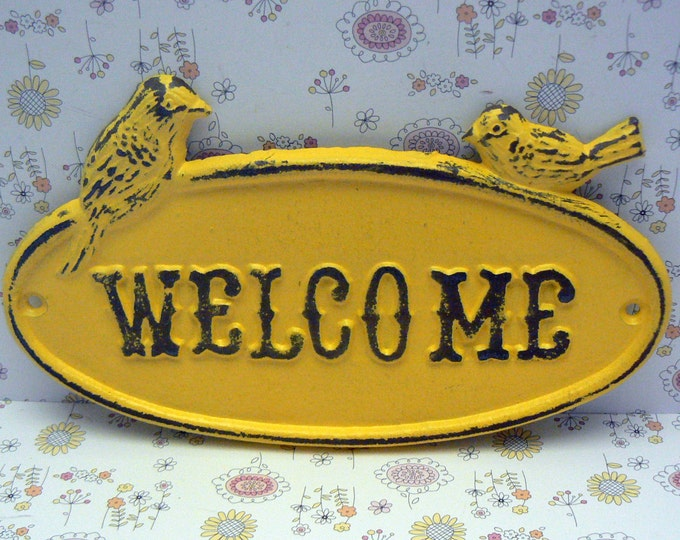 Bird Welcome Cast Iron Sign Shabby Style Chic Sunny Lemon Yellow Distressed Double Birds Garden Door Greeting Wall Plaque
