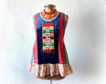 Women's Colorful Tank Food Clothing Bohemian Swing Shirt Lifesaver Candy Boho Eco Fashion Patchwork Clothes Unusual Artsy Blouse M L 'CHERIE