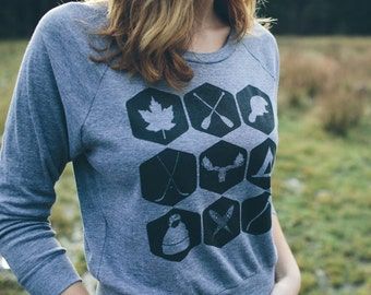 Northern Icons Women's Raglan Sweatshirt - slouchy womens sweatshirt - nature inspired - gift for her - northern pride - canada sweatshirt