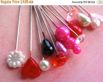 ON SALE One Dozen Pretty Valentine Stick Pins