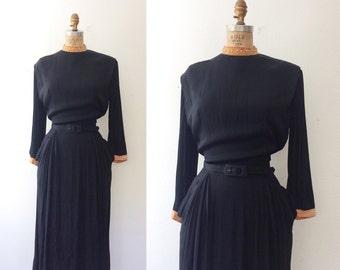 vintage 40s dress / 40s rayon crepe dress / Bellamy dress