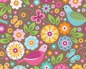 SALE FABRIC - Summer Song 2 by Zoe Pearn for Riley Blake - C4620 - Birds Main in Brown - Flowers and Birds, Pink, Brown, Aqua