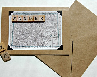 Vintage map scrabble tile Colorado travel vacation handmade blank inside greeting cards