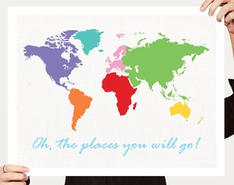 world map nursery art - oh the places you will go print - travel quote saying, colourful kids art, childrens decor, baby girl boy, rainbow