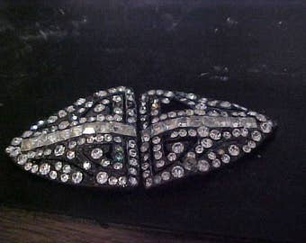 ART DECO Square & Round Cut Diamante Crystal DUETTE in Japanned.