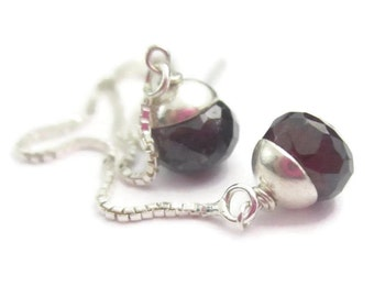 Garnet Threader Earrings in Sterling Silver Red Gemstone January Birthstone