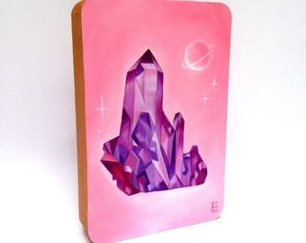 Quartz Crystal geometric gem Oil Painting on wooden block
