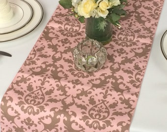 Brown and Pink Damask Table Runner