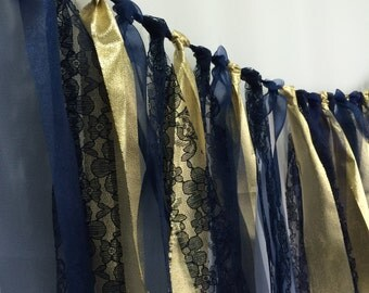 Navy and Gold Lace Fabric Garland Banner Backdrop