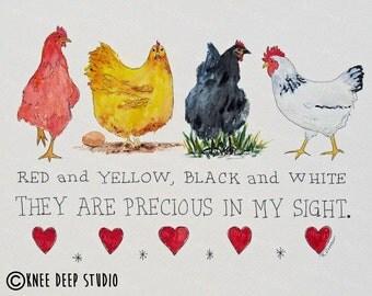 Colorful Chickens Original Art Print Precious in My Sight Farm Animals Art Hens Chicks Contemporary Art Rustic Modern Decor Affordable Gift
