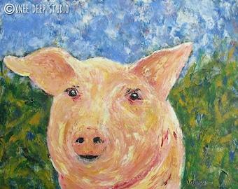 Happy Pig Painting 16x20 Acrylic on Canvas Cheerful Contemporary Wall Decor Farm Animal Art Original Art Interior Design Nursery Decor