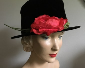 Vintage 1960's Black Velvet with Fuchsia Pink Millinery Rose Bucket Hat