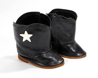 Vintage Doll Shoes / Pair Doll Black Cowboy Boots White Star / Velcro Side Opening / Play Pretend Clothes Accessories