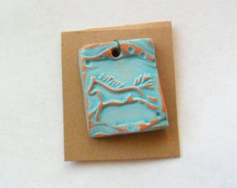 Spirit Horse Pendant Finding, Distressed Turquoise Terra Cotta Kiln Fired Clay