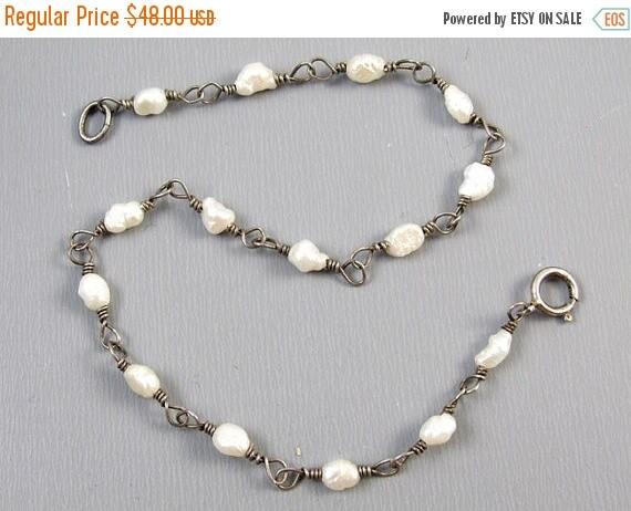 SPRING CLEANING SALE Delicate sterling silver seed pearl vintage rosary bead bracelet