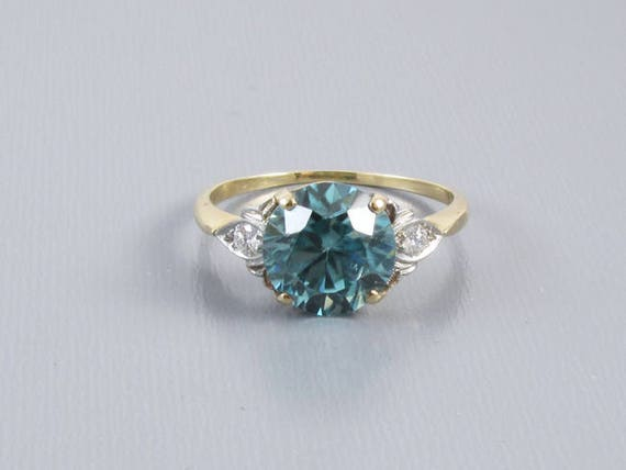 Vintage Art Deco 14k gold and platinum 4.81 carat natural blue zircon and diamond ring / size 9