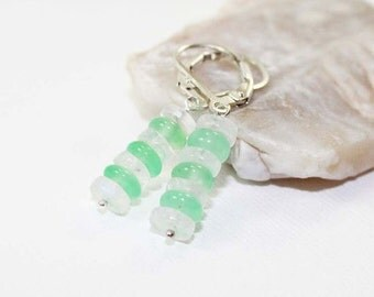 Chrysoprase and Rainbow Moonstone Gemstone . Sterling Silver Stacked Bar Necklace . White, Mint Green . E15047
