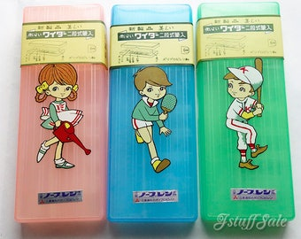 Set of 3 -  60's vintage Japanese pencil cases