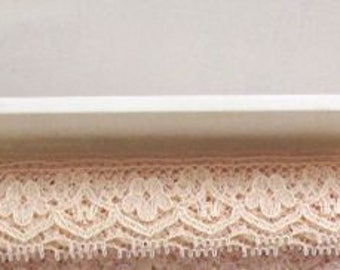Vintage Lace Trim, Ivory Lace Trim, Floral, Scalloped,  10 Yards, Crafting, Sewing, Scrapbooking, Bridal, Supplies, Lace, 5/8""