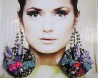 Shabby Circle Earrings, Bohemian girl, Large Circle Earrings,   Gypsy, Shabby Chic, Tattered, Bohemian  Romantic.