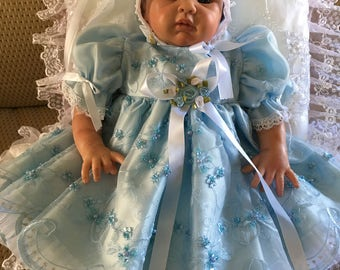 Blue Beaded Organza DRESS for REBORN  Doll or NEWBORN Baby  17 to 19 inch