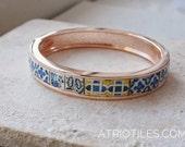 Bracelet Tile Portugal Tile Antique Azulejo Tile Replica Bangle Bracelet -  Belem, Lisboa  (see photo of facade)   Blue Gold