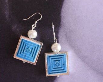 Silver Earrings Portugal Tile Azulejo Portuguese Antique FRAMED Albergaria-a-Velha (see facade photo) Blue Gift boxed Ships from USA 813
