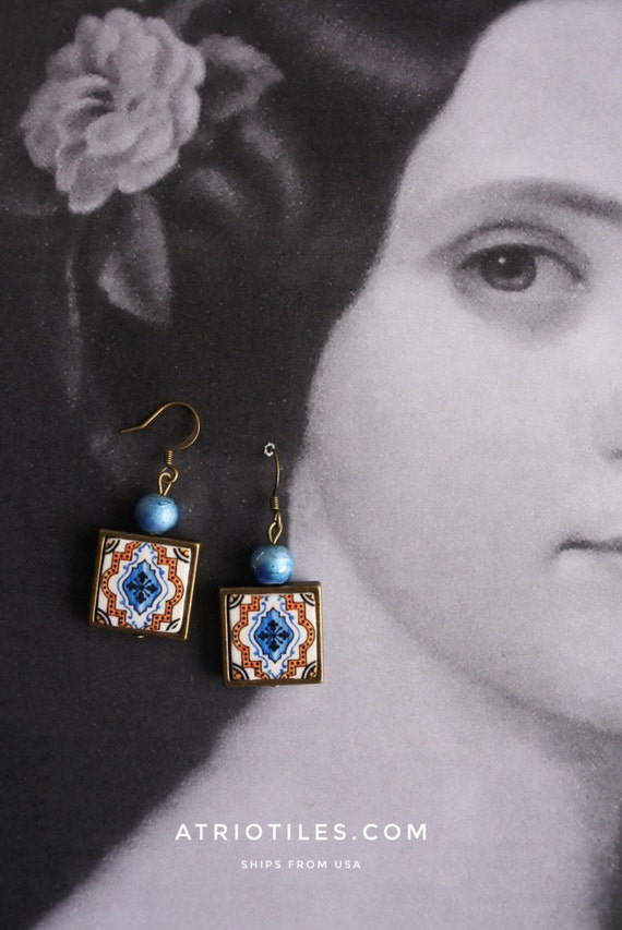 Tile Earrings Portugal Portuguese Antique AZULEJO Replica FRAMED, Blue  Brown Ovar, waterproof and reversible - gift boxed 274
