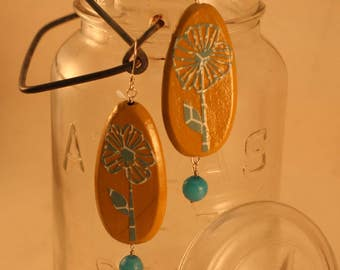Hand Cut Paper Flower Decoupage Earrings