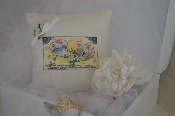 "Wedding Ring Bearer Pillow ""Sweet Valentine"""