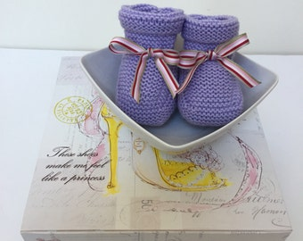 Knitted Baby Booties - Lilac