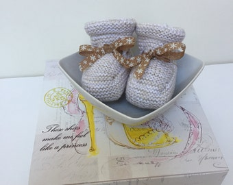 Knitted Baby Booties - Linen