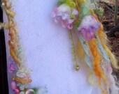 scarf lariat fantasy fiber art yarn braid garland scarf adornment - sunshine spring wild fairy bell garden