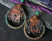 Copper, Tribal Earrings, Bohemian Tribal, Patina Earrings, Ethnic Bohemian, Hammered Copper Jewelry