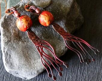 Bohemian Hippie Earrings, Tribal Earrings, Gypsy Earrings, Copper Rustic Earrings, Copper Bohemian Jewelry